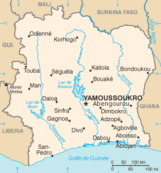 Carte de la Côte d'Ivoire par Idarvol, via wikipedia.fr cc